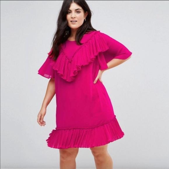 ASOS Curve Dresses | Dress 18 Plus Size Ruffles Pink Shift | Poshmark